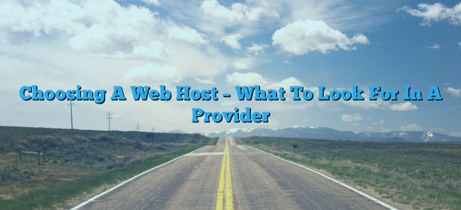 Choosing A Web Host – What To Look For In A Provider