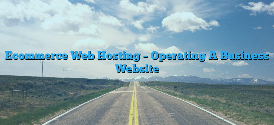 Ecommerce Web Hosting – Operating A Business Website